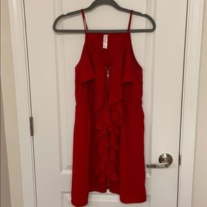 Red Ruffle Zipper Dress ( Brand: Love Notes)